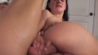Amateur brunette Renee Pornero has her first time anal penetration