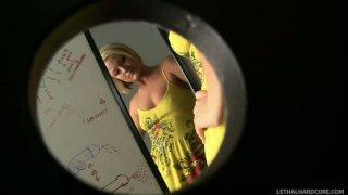 Horny blonde Jasmine Jolie sucks the dick in a changing room