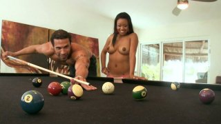 Naked black chick Melody Nakai is fed with billiards and wanna get fucked