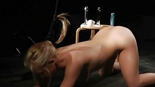 Dominator ties blonde in doggie and drill her hole