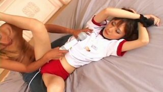 Brownish pussy of Japanese whore Yurika Kuraki gets tickled through a slit in panties