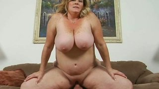 Obese slut Deedra does her best while riding a stiff fat cock