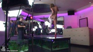 Hot strip dancer Blue Angel behind the scene video
