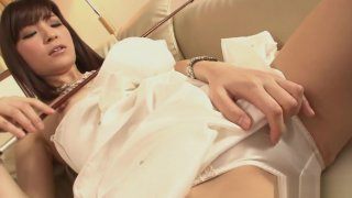 Horny Yuria Tominaga plays a violin and rubs her pussy