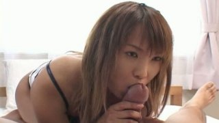 Frisky jap girl Sanae Mizushima is giving a solid blowjob