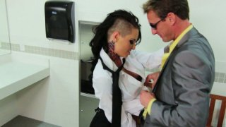 A dude picks up Christy Mack who works as a waitress and fucks her in a WC