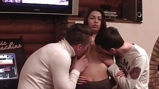 Sexy brunette slut fucks two guys in the shower